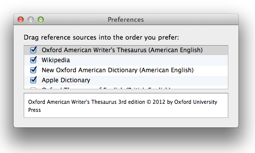 Dictionary Preferences